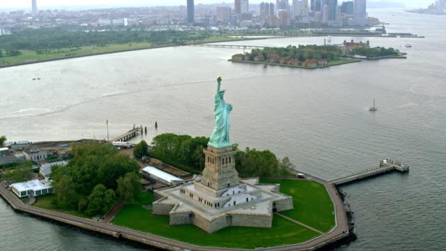 AERIAL Statue of Liberty on Liberty Island, NY
