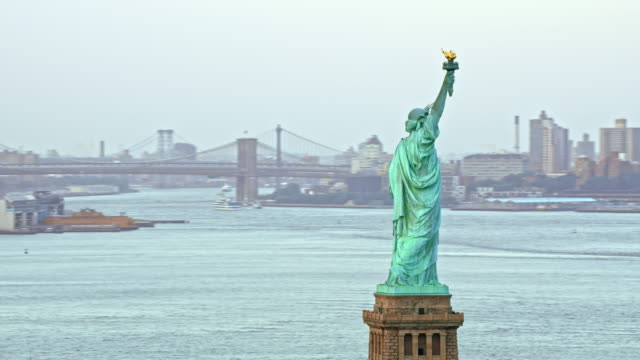 AERIAL Statue of Liberty overlooking New York