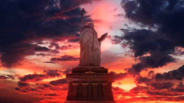 statue of liberty sun set - july 4th stock videos & royalty-free footage