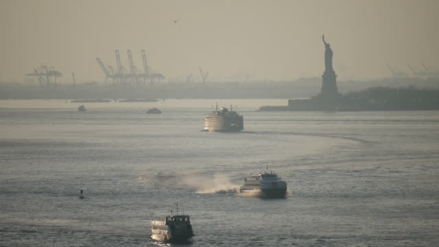 Statue of Liberty with boats passing at sunset video
