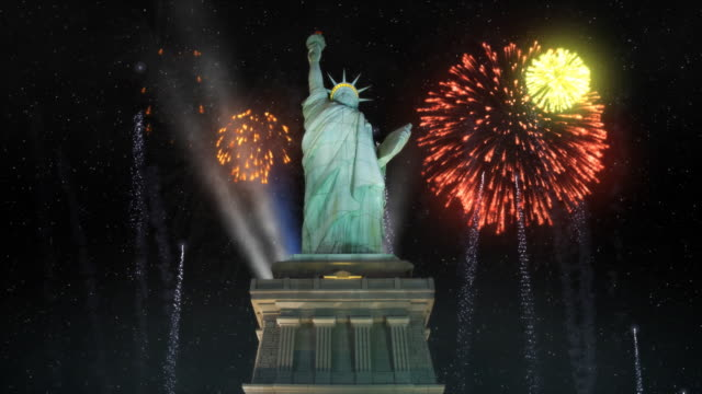 Statue Of Liberty With Fireworks Statue or Liberty as part of a celebration. Fireworks go off in the background. fourth of july videos stock videos & royalty-free footage
