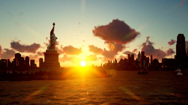 Statue of Liberty with ships sailing, Manhattan, New York against beautiful sunset