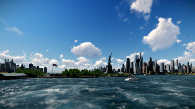 Statue of Liberty with ships sailing, Manhattan, New York City against blue sky, 4K