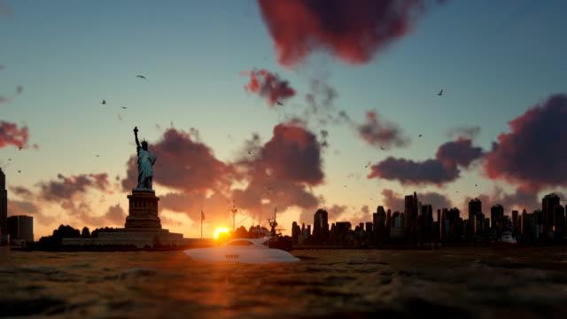 Statue of Liberty with ships sailing, Manhattan, New York City, beautiful sunset