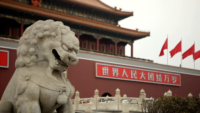 statue of lion in tiananmen square - porcelain stock videos & royalty-free footage