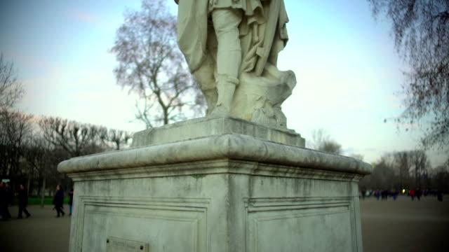 Statue of Roman Emperor Julius Caesar near Louvre in Paris, sightseeing tour video