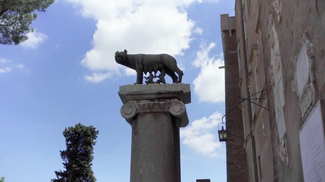 Statue of she-wolf on Capitoline hill. Founders of Rome city - Romulus and Remus - suckling she-wolf