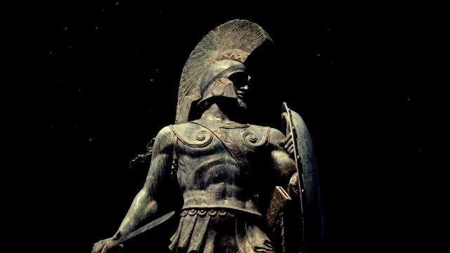 Statue Of Spartan Warrior With Dust Floating Around