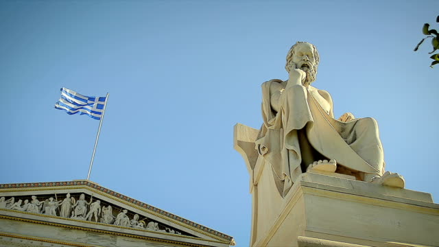 Statue of the Greek Philosopher Socrates background of Greek Flag Statue of the Greek Philosopher Socrates background of Greek Flag philosophy stock videos & royalty-free footage