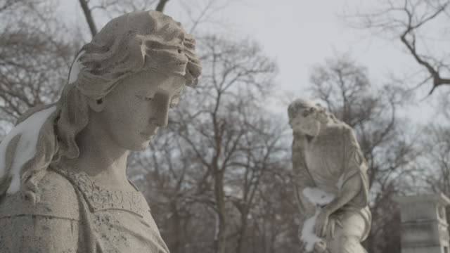 statue_snowy_cemetary - gargoyle video stock e b–roll