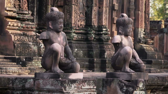 Statues and art in Banteay Srei temple, Cambodia, Asia