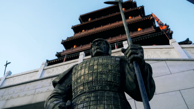 Statues of warriors in the Han Dynasty,Xi'an,China. Chinese classical Pagoda - Big wind Pavilion,Xi'an,China. ancient architecture stock videos & royalty-free footage