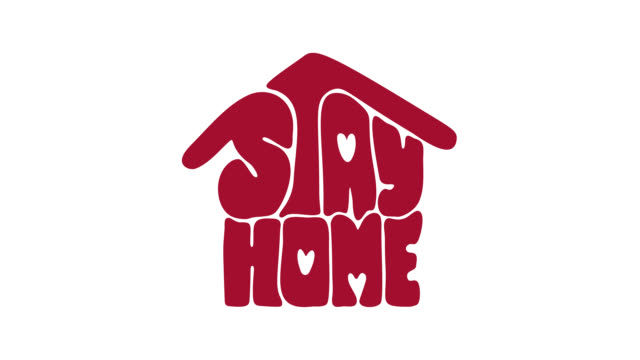Stay home animation logo icon. Lettering text in form of house. Reduce risk of infection and spreading virus. Coronavirus Covid-19, quarantine motivational sticker Stay home animation logo icon. Lettering text in form of house. Reduce risk of infection and spreading virus. Coronavirus Covid-19, quarantine motivational sticker housing logo stock videos & royalty-free footage