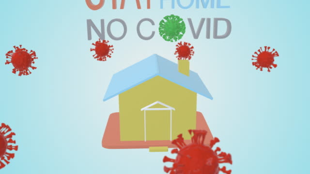 Stay safe stay at home no covid simple clean animation. 3D rendering. - vídeo