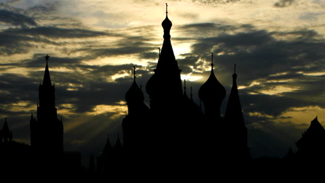 St.Basil`s cathedral and cloudy sunset video