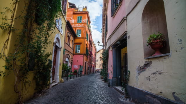 steadicam: old street in trastevere in rome, italy - italian architecture stock videos & royalty-free footage