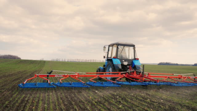 Steadicam shot: The tractor goes forward, cultivates the ground with a cultivator. Spring field works video