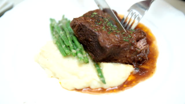 steak at restaurant - fine dining stock videos and b-roll footage