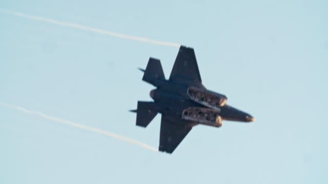 F-35 Stealth fighter performing high speed combat maneuvers F-35 Stealth fighter performing high speed combat maneuvers army stock videos & royalty-free footage