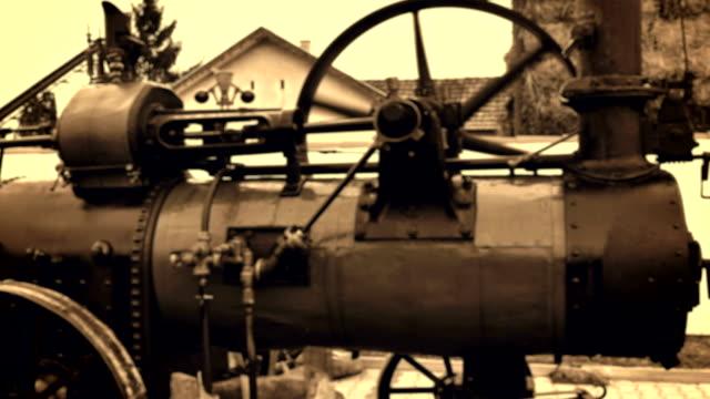 Steam engine driven threshing machines
