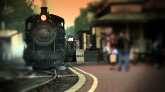 Steam Engine Train at Depot  railroad station platform stock videos & royalty-free footage