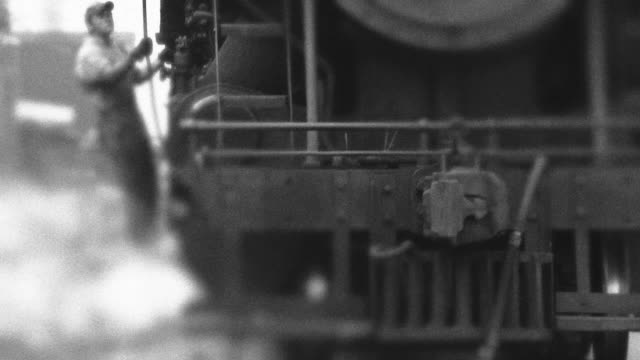 Steam Engine Train Passes By - BW video