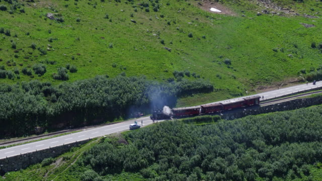 Steam locomotive from Gletsch at Furka Pass video