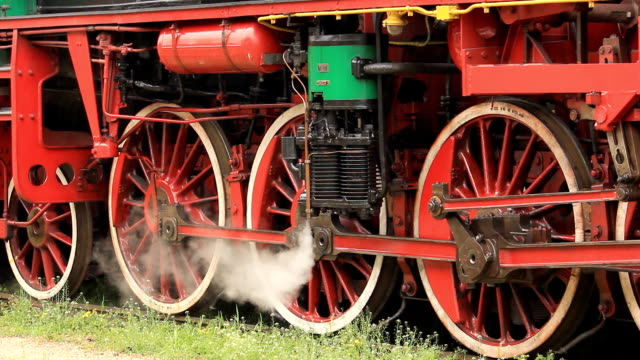 Steam locomotive wheels video