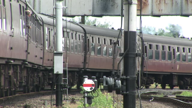 Steam train carriages moving slowly video