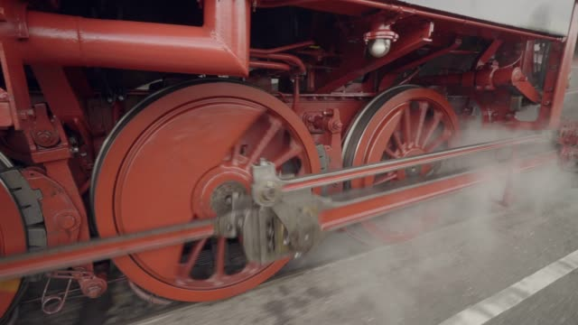 Steam train details of wheels in motion with steam