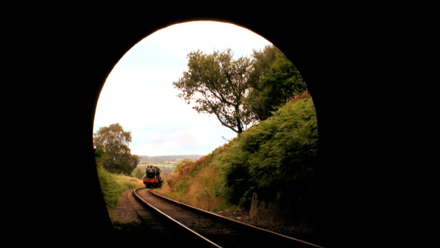 Steam train entering Tunnel video