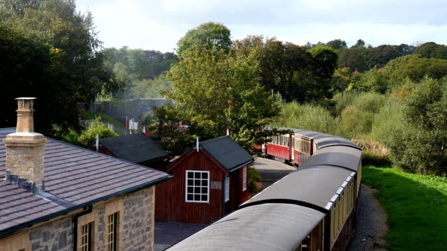 Bидео Steam train view from bridge above railway