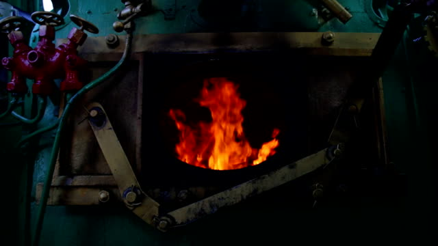 Steam train's furnace opens and closes video