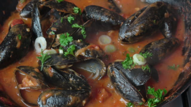 steamed mussels in tomato broth. - seafood stock videos and b-roll footage