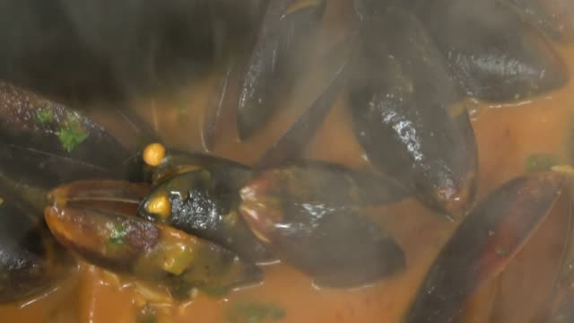 steamed pei mussels in a tomato and garlic broth film montage. - seafood stock videos and b-roll footage
