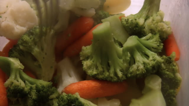 Steamed Vegetables Close Up (HD) video