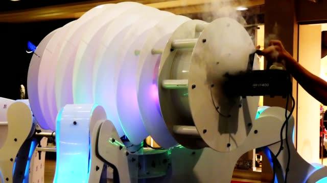 steaming, filling, charging, loading robot splitting fog, steam, mist, smoke video