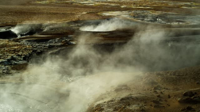 Steaming fumaroles. Hverarond Geothermal Area