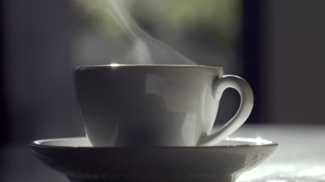Steaming Hot Drink In Backyard Picnic Party Table Steaming Hot Drink In Backyard Picnic Party Table steam stock videos & royalty-free footage