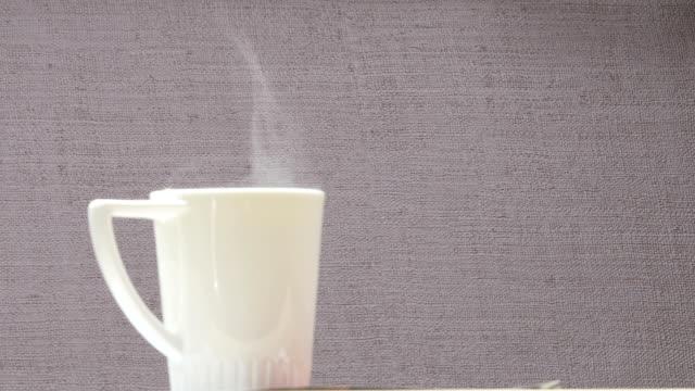 steaming hot tea video