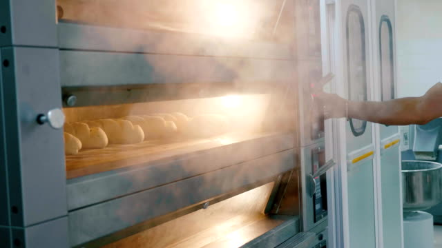 steaming oven with fresh bread at commercial kitchen. - pane forno video stock e b–roll