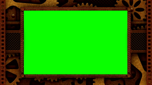 Steampunk frame with green screen video