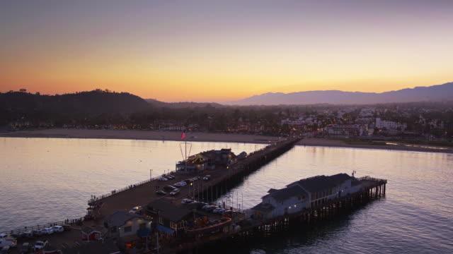 Stearns Wharf and Santa Barbara at Twilight - Aerial Shot video