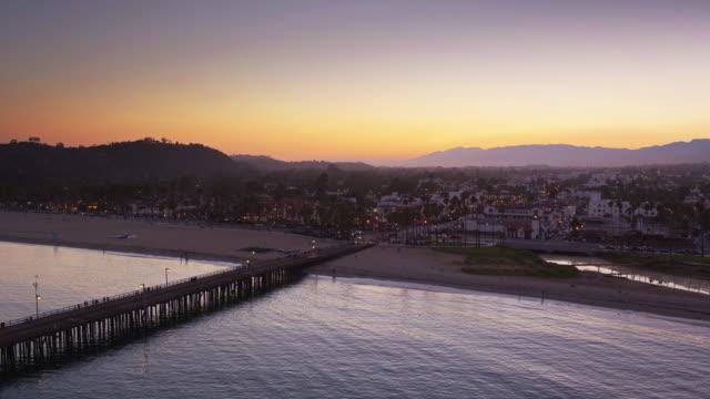 Stearns Wharf and Santa Barbara Beach at Sunset - Aerial Shot video