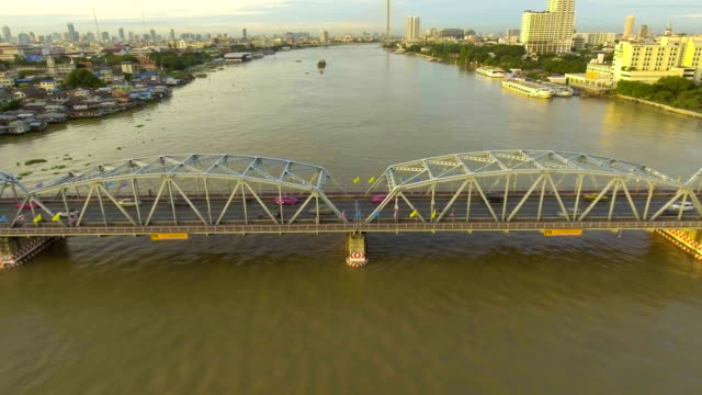 Steel Bridge  cross River with Traffic in the Morning, Aerial view