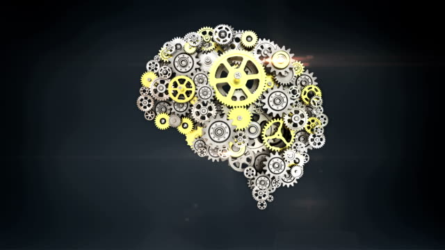 Steel golden gears making human brain shape. human artificial intelligence. - Vidéo