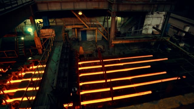Steel mill factory - iron bar after molding Iron bar  - rod after molding furnace stock videos & royalty-free footage