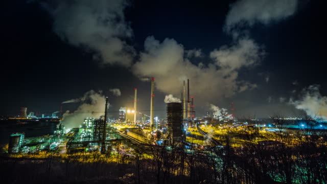 Steel Production Coking plant Schwelgern for steel production in Duisburg, Germany at night. steel mill stock videos & royalty-free footage