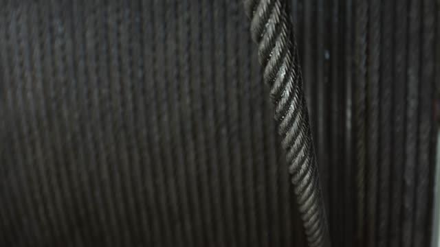 Steel rope wound on winch drum video