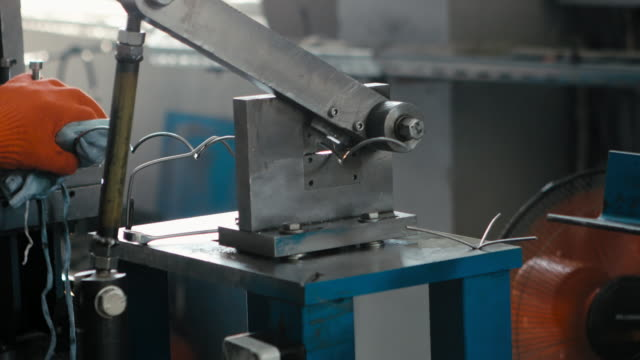 Steel wire rope moving through the pulley video